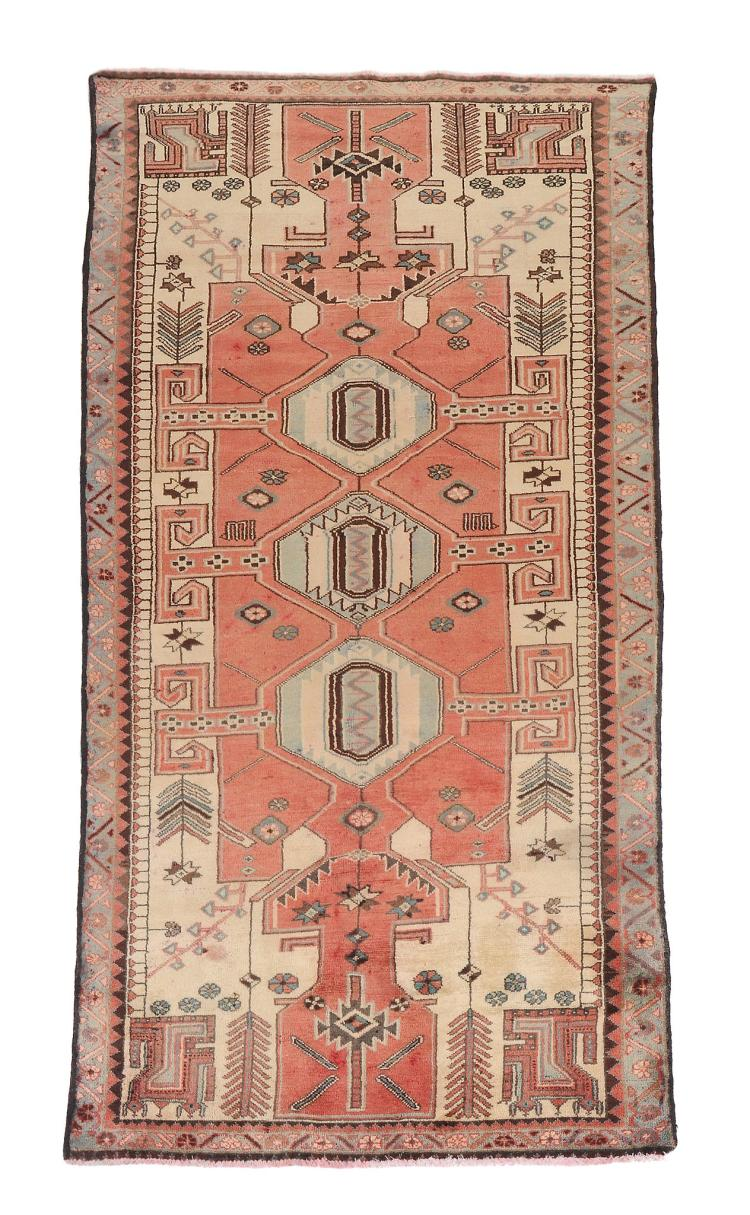 A Caucasian gallery carpet , approximately 283cm x 111cm