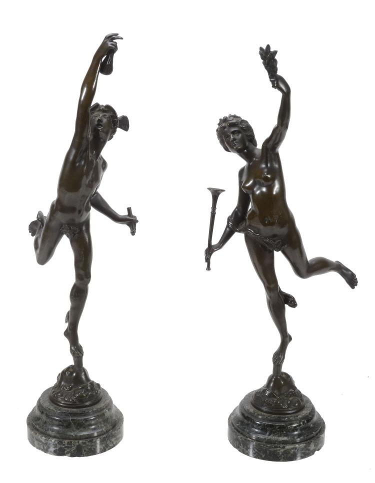 A pair of Continental patinated bronze models of Mercury and Flora, circa 1875