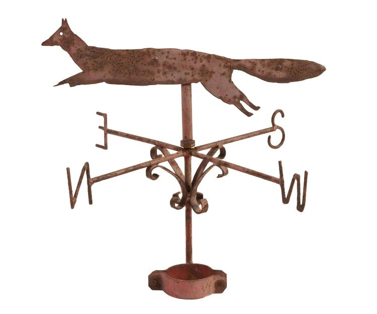 A painted iron weathervane, 19th century, surmounted by a silhouette...