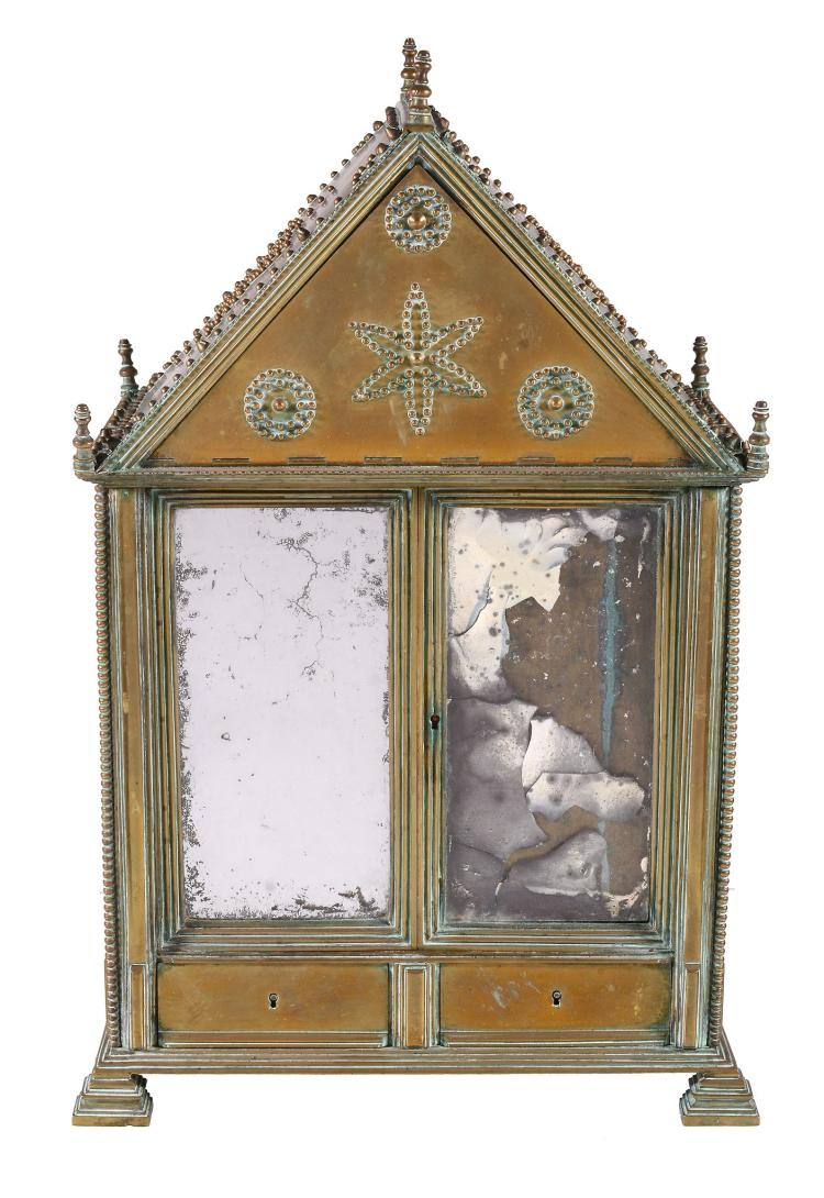 A Continental brass and mirrored glass table top cabinet or jewellery case