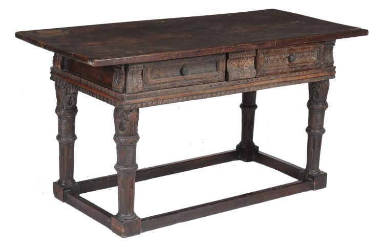 A Continental walnut centre table , 17th century and later, probably Italian