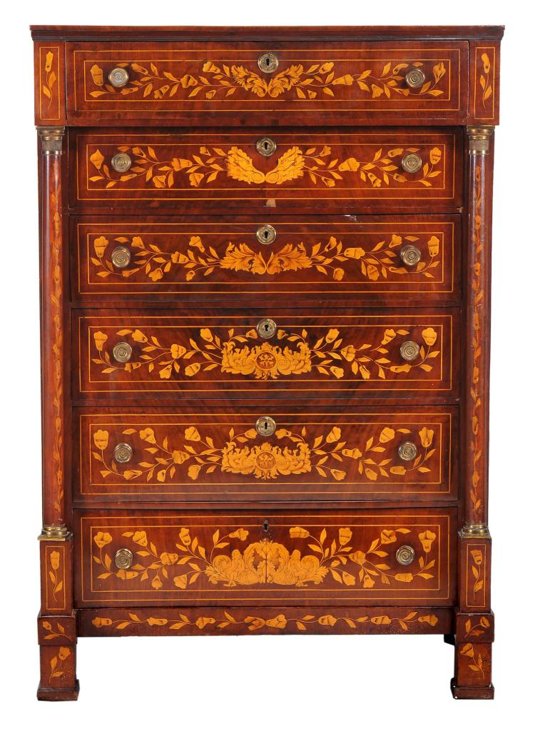 A Dutch floral marquetry inlaid walnut chest of drawers , early 19th century