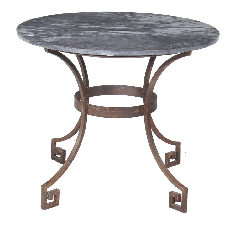 A marble topped iron centre table , 20th century, 76cm high
