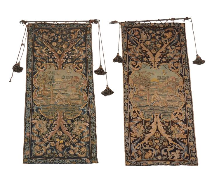 Two similar embroidered Verdure wall tapestries, 18th century and later