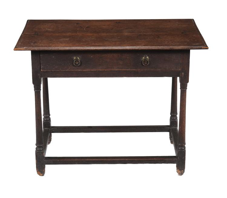 A Queen Anne oak side table , circa 1710, 70cm high, 92cm wide, 59cm deep