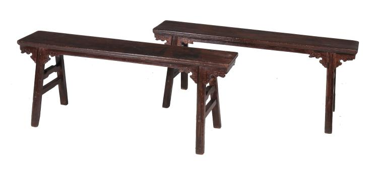 A pair of Chinese hardwood benches , possibly 17th/18th century, each 54cm high