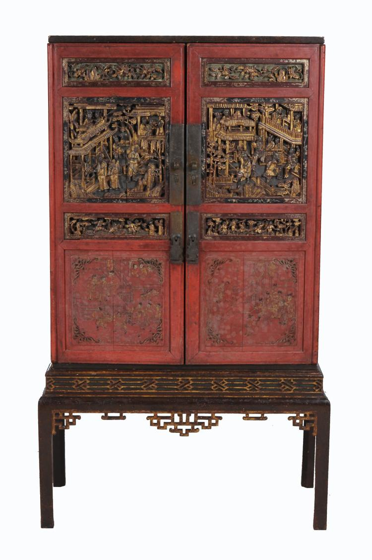 A Chinese red lacquered cabinet , probably 19th century, 169cm high, 91cm wide