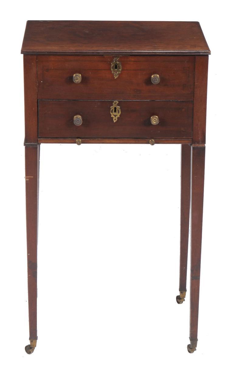A late George III mahogany work table , circa 1800