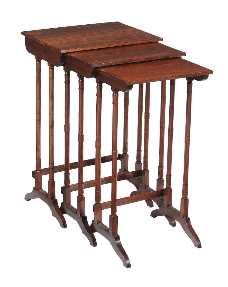 A Regency nest of three rosewood tables , circa 1815, the largest 71cm high