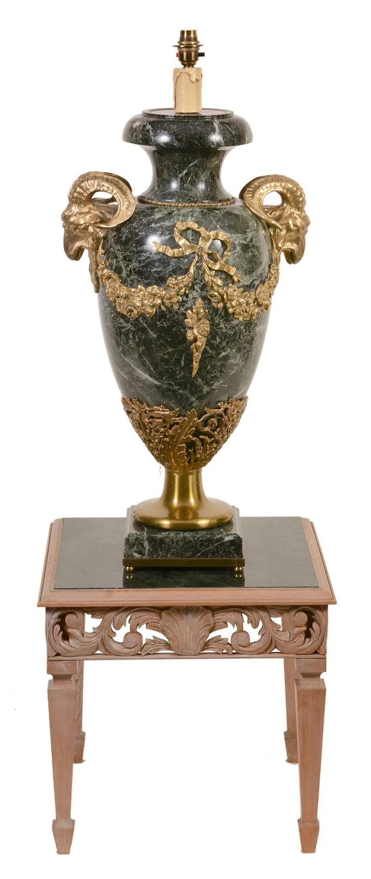 A green serpentine marble and gilt metal mounted urn fitted as a table lamp