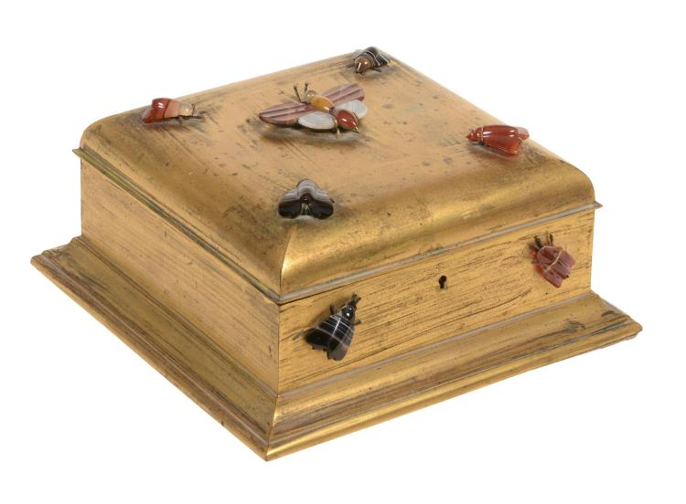 A Continental gilt metal and hardstone mounted jewellery casket, circa 1875