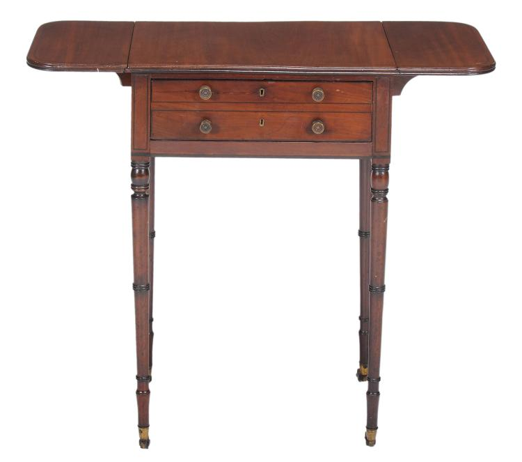 A Regency mahogany and ebony inlaid work table , circa 1820
