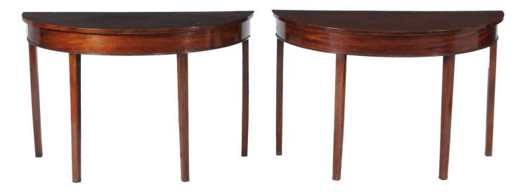 A pair of George III demi-lune side tables , circa 1780, 72cm high, 112cm wide