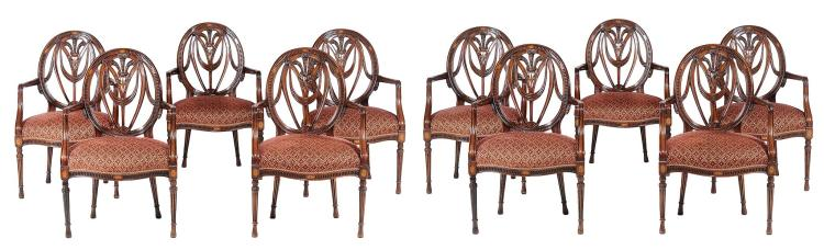 A set of ten mahogany armchairs in George III style, 20th century