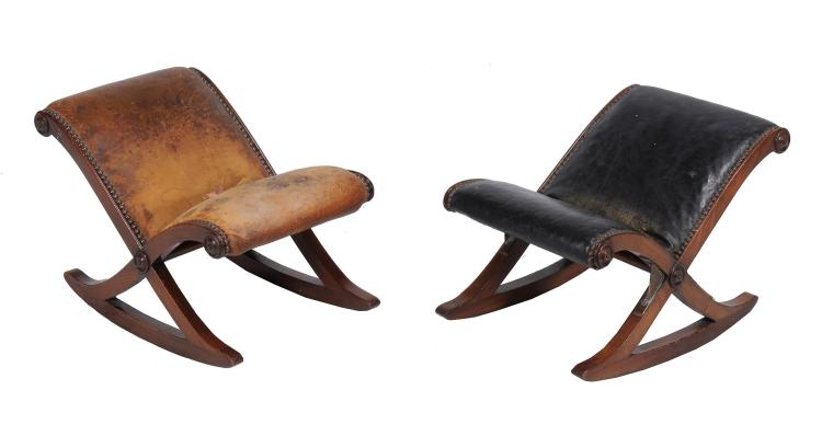 A pair of mahogany gout stools , first half 19th century