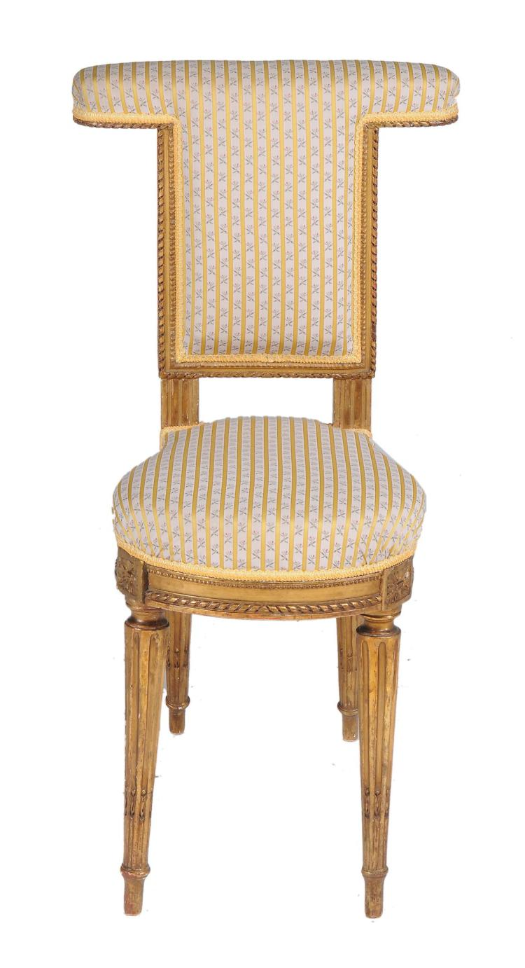 A Louis XVI style gilt gesso voyeuse chair, late 19th century