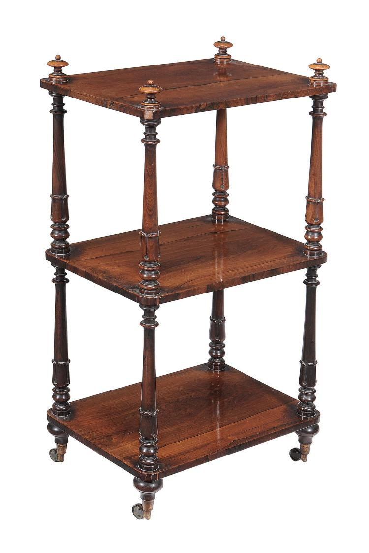 A George IV rosewood three tier whatnot, circa 1825