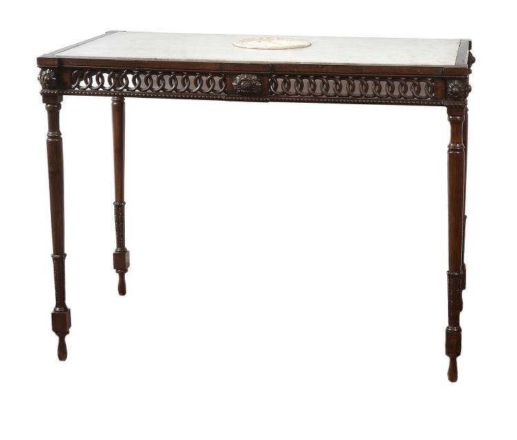 A Continental carved walnut and marble mounted console table, circa 1780