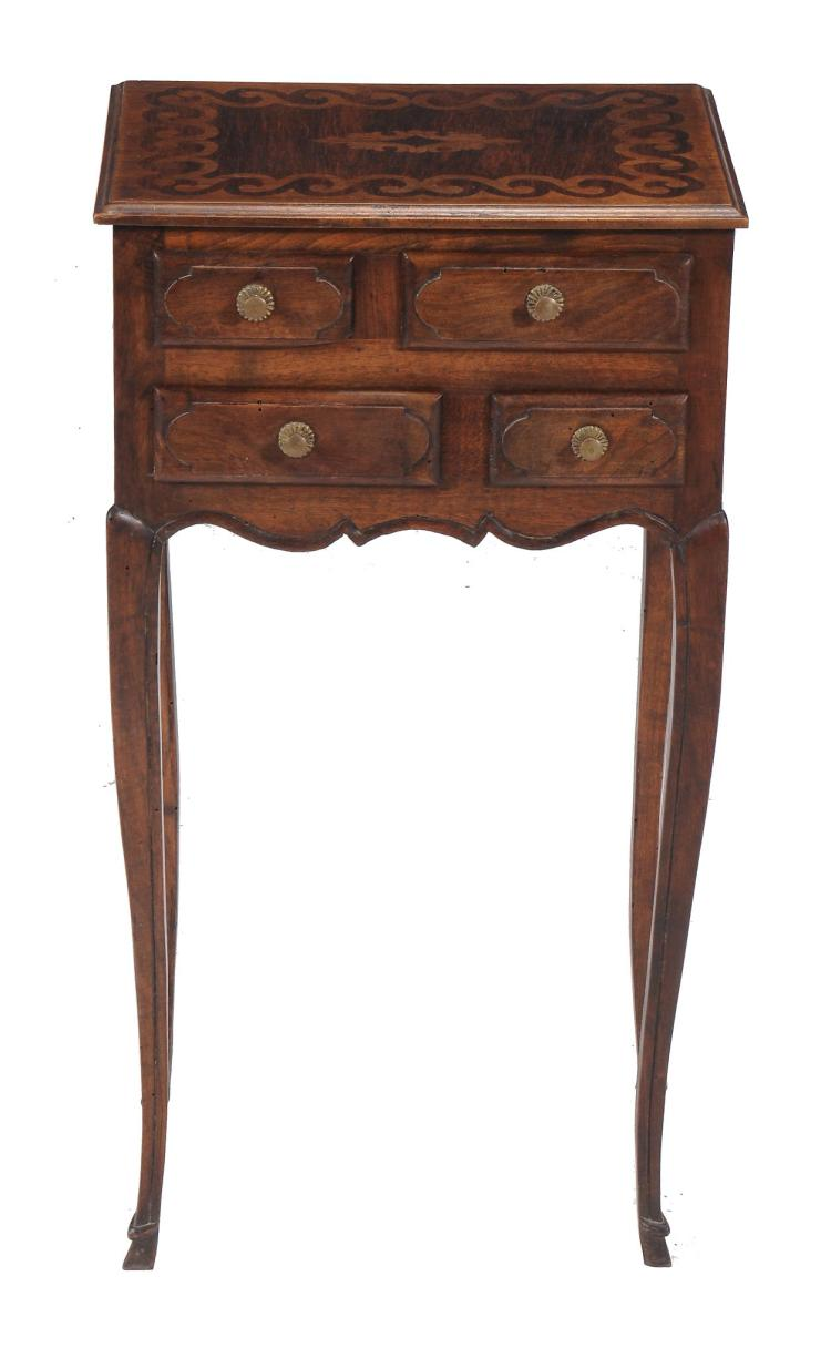 A Continental walnut and marquetry side table, 19th century