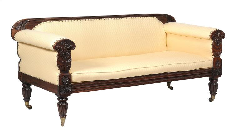 A George IV rosewood sofa , circa 1825, 83cm high, 207cm long, 71cm deep