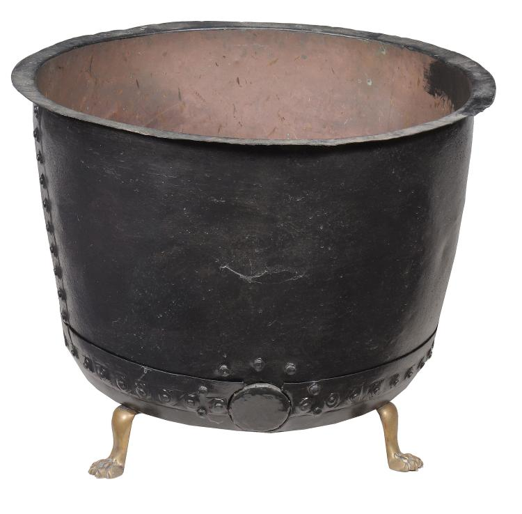 A copper and brass log bin , 19th century and later, stamped P and 33 to rim