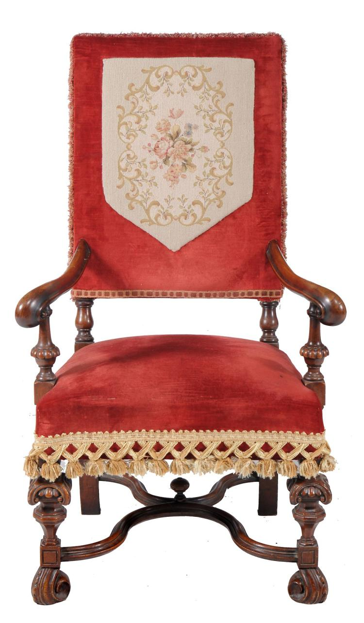 A walnut open armchair in William and Mary style , 19th century, 113cm high