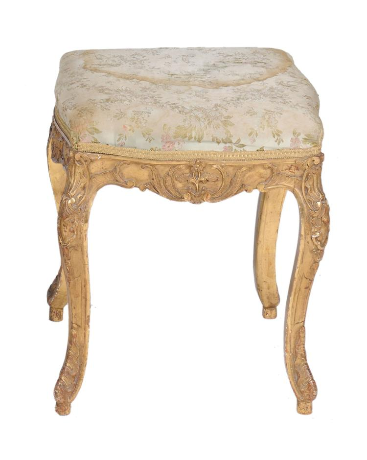 A Continental carved giltwood stool, late 18th century, 47cm high