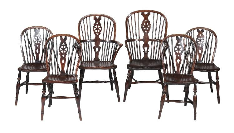 A harlequin set of six ash and elm comb back dining chairs , 19th century