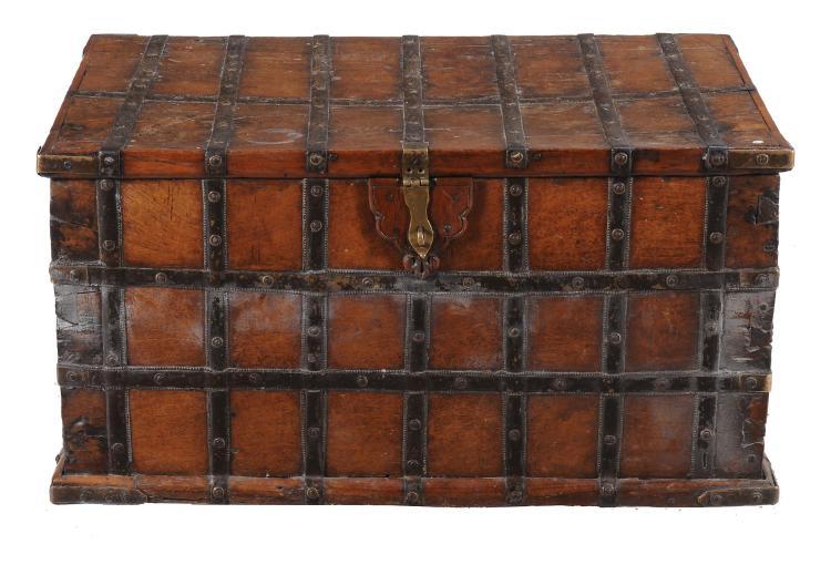 A Dutch walnut and steel bound silver chest, 18th century, 50cm high, 93cm wide