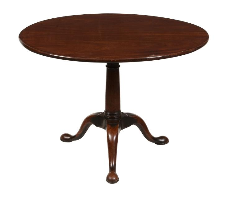 An early George III mahogany tripod table , circa 1750, with birdcage action