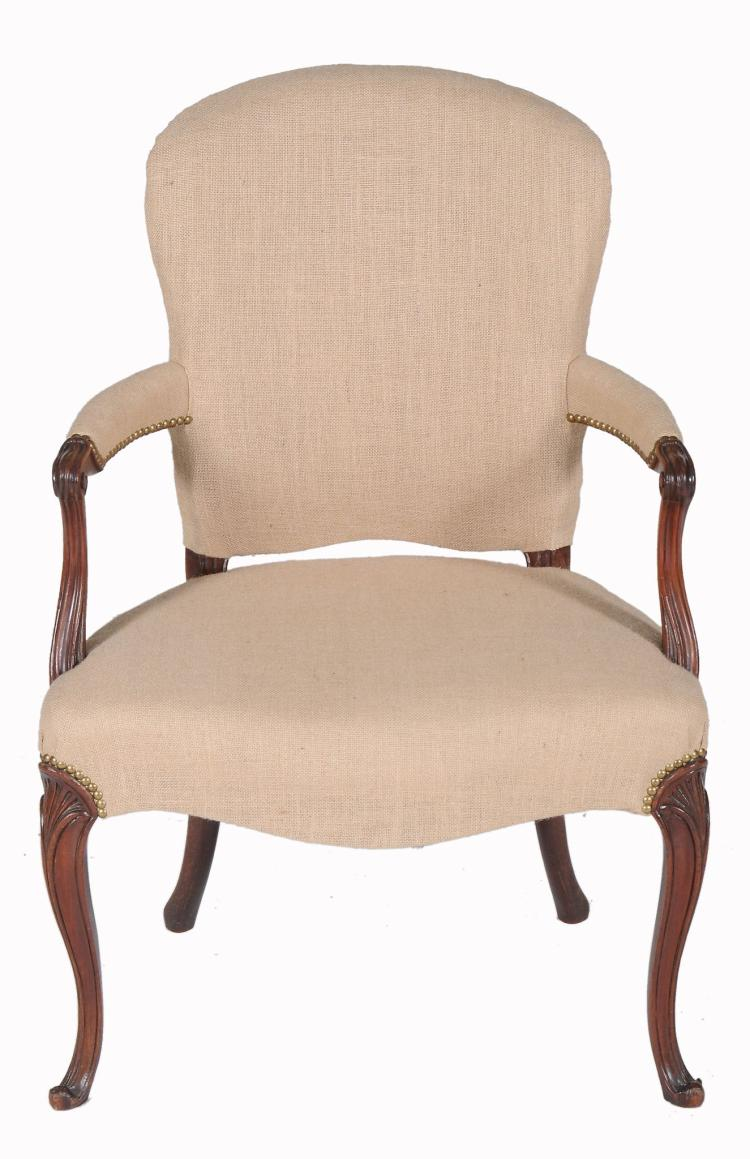 A mahogany open armchair in George III style , circa 1780