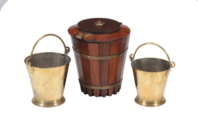 A hardwood and brass mounted bucket, of Campaign type, probably Colonial