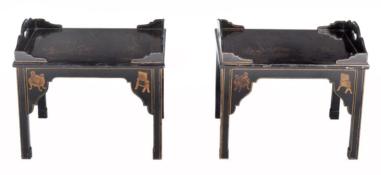 A pair of Japanned tray top coffee tables in George III style , 20th century