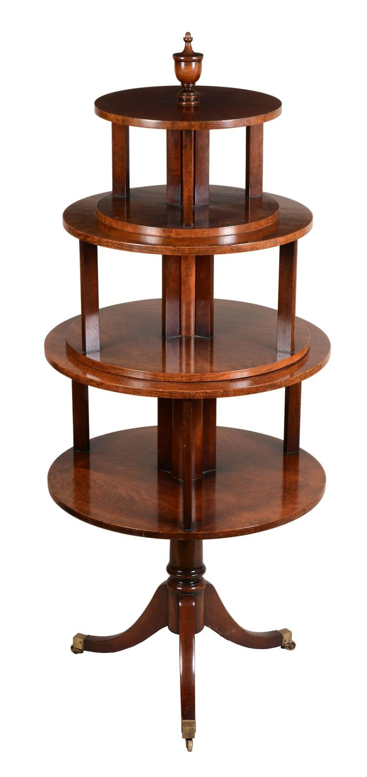 A fiddleback mahogany pedestal bookcase in Regency style , 20th century