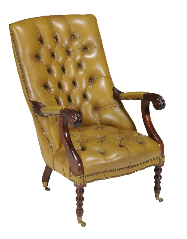 A leather upholstered library chair in george IV style , 20th century