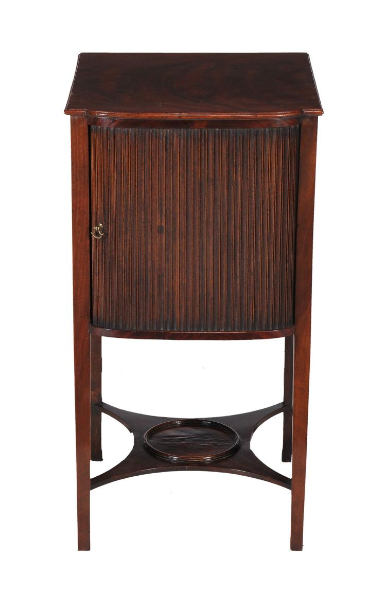 A George III mahogany tambour fronted bedside cupboard, circa 1800, 80cm high