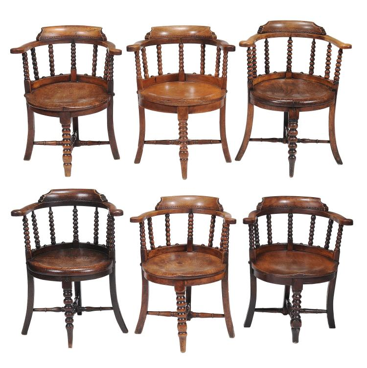 Six similar late Victorian ash 'smokers bow' arm chairs , circa 1890,