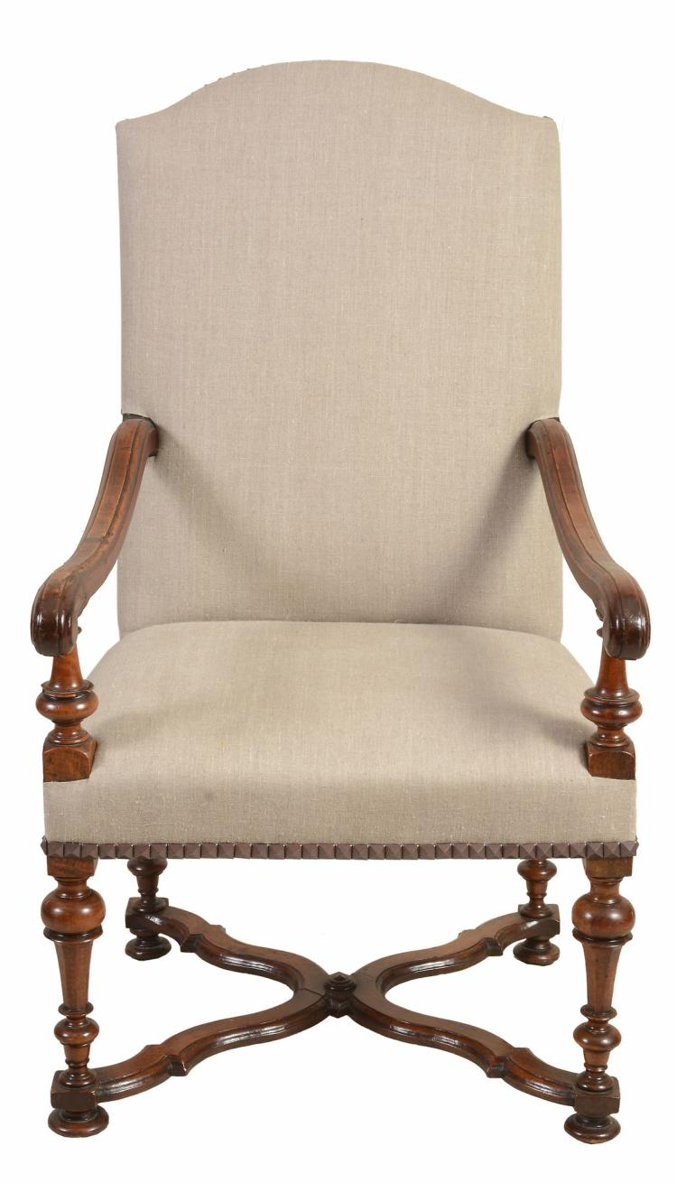 A Continental walnut and upholstered armchair, in 17th century style