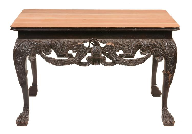 A carved and ebonised centre table in George III Irish style, late 19th century