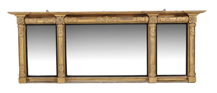 A George IV giltwood and composition overmantle mirror, circa 1825, 60cm high