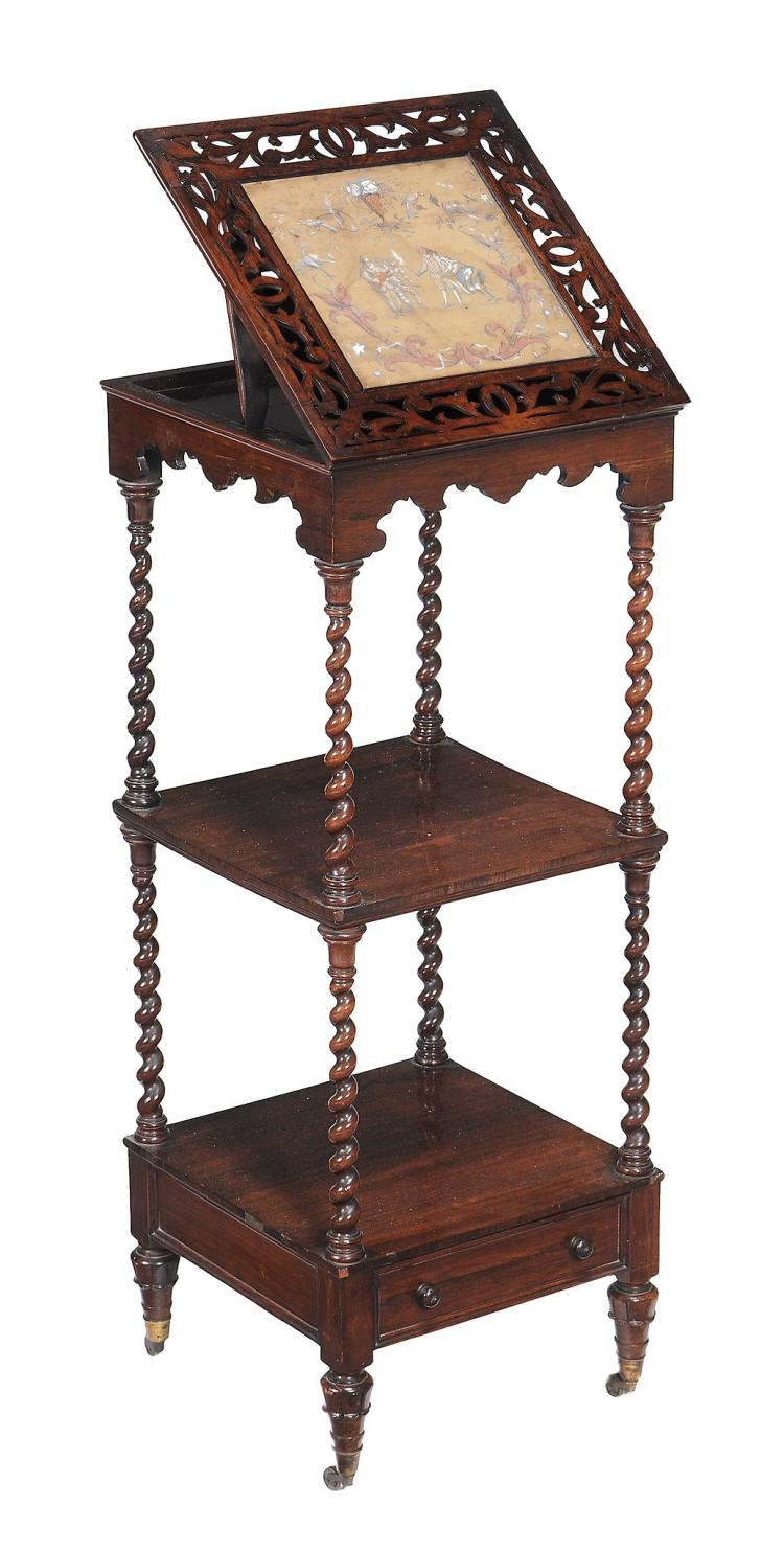 A William IV rosewood whatnot , circa 1835