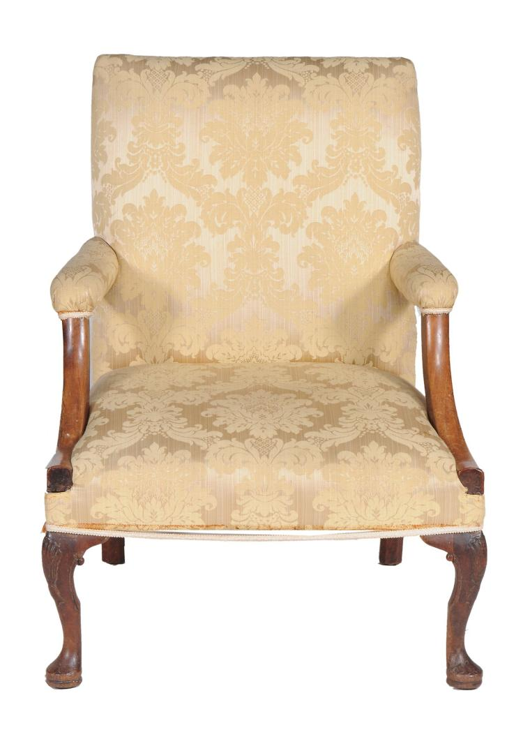A mahogany and upholstered Gainsborough armchair , circa 1760 and later