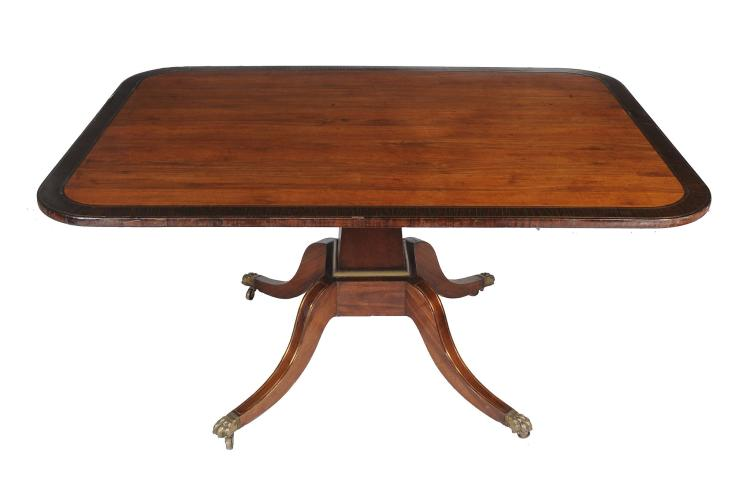 A Regency rosewood and brass strung breakfast table, circa 1815, 74cm high