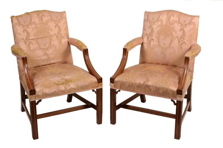 A pair of mahogany Gainsborough armchairs in George III style