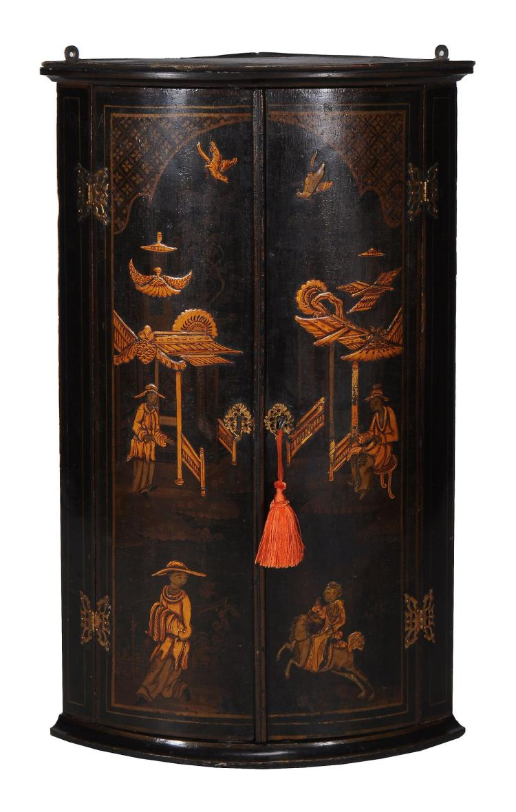A George III black lacquer and gilt Japanned hanging corner cupboard