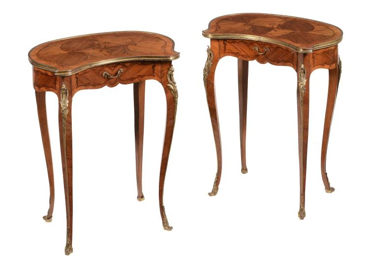 A pair of French kingwood and rosewood inlaid side tables with single drawers