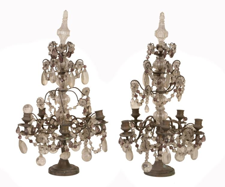 A pair of Continental metal and glass hung five light candelabra, circa 1900