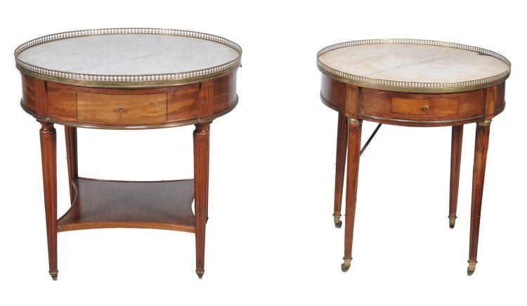 Two similar French circular marble topped tables , late 19th/early 20th century