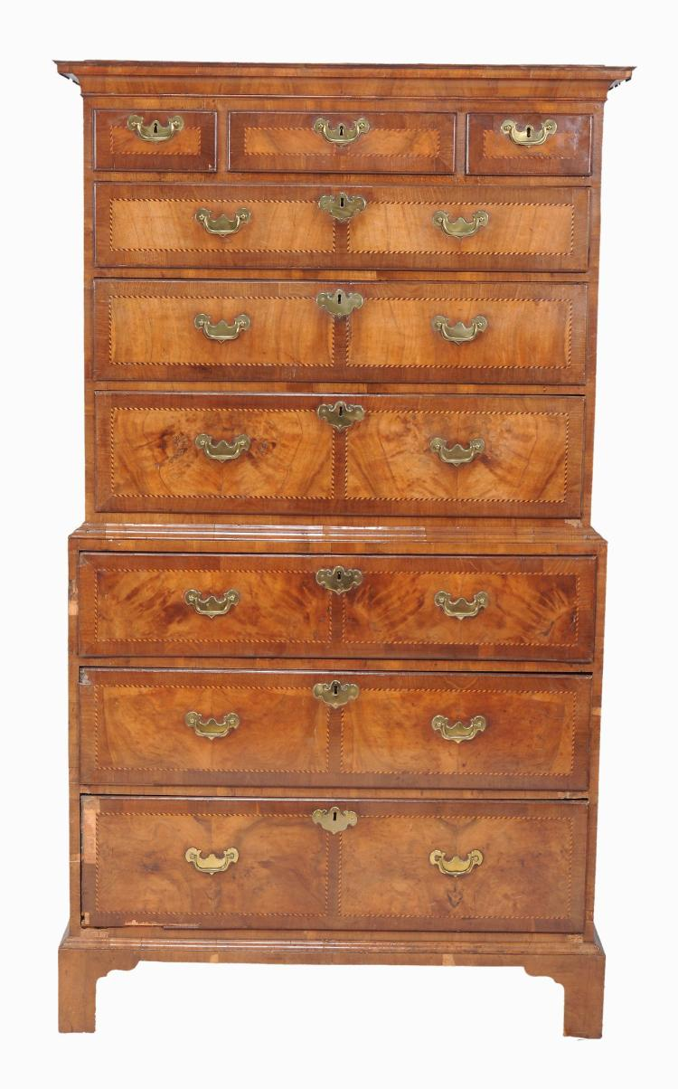 A walnut and checker-banded secretaire chest on chest , 18th century and later
