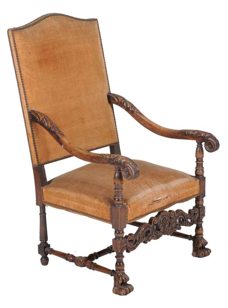 A walnut armchair in Louis XIV style, late 19th/early 20th century, 117cm high